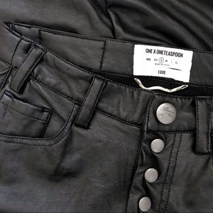 One X One Teaspoon Luxe Black Wax S Skinny Pants